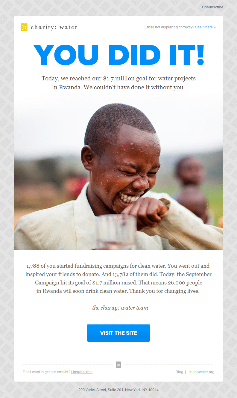 Charity Water - Email Marketing Pictures