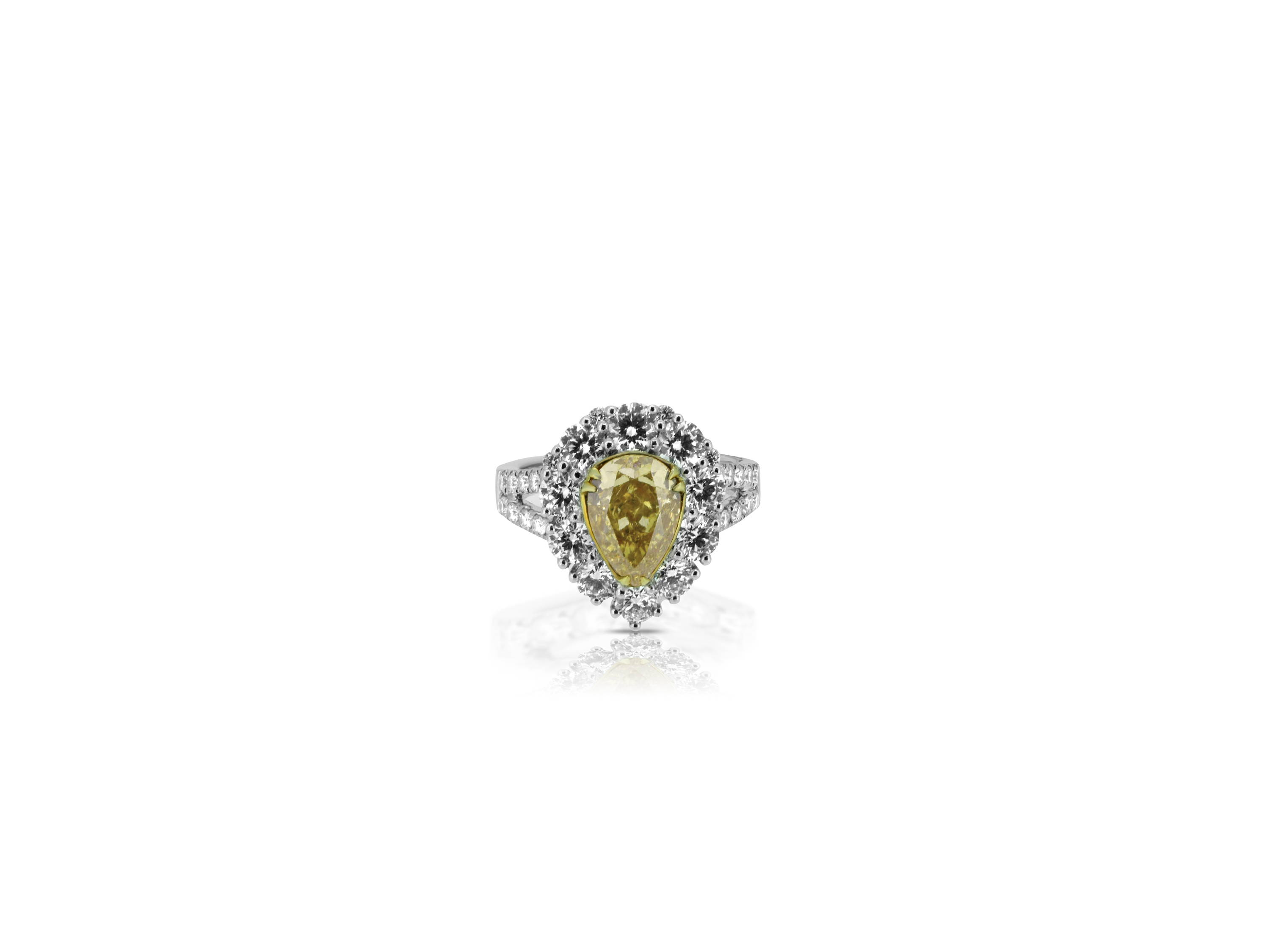 yellow pear halo engagement ring