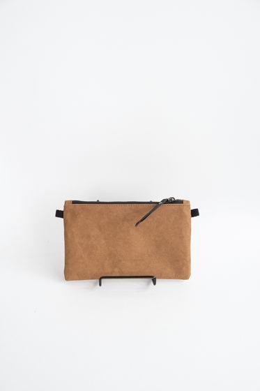 клатч из текстильного крафта, цвет карамель, размер S (12*20 cm)