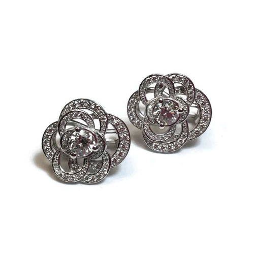 earrings with polished and cleaned diamonds