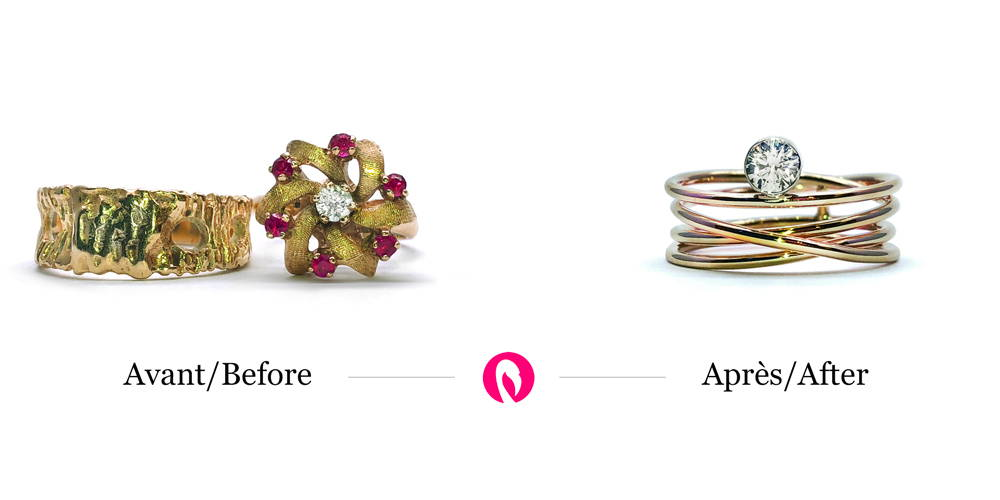 Transformation of a gold ring and brooch with a diamond into a beautiful gold ring with multiple intertwined branches set with the diamond.