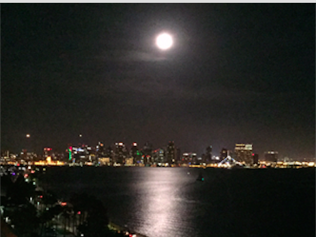 Moon over San Diego from the writer's hotel room.