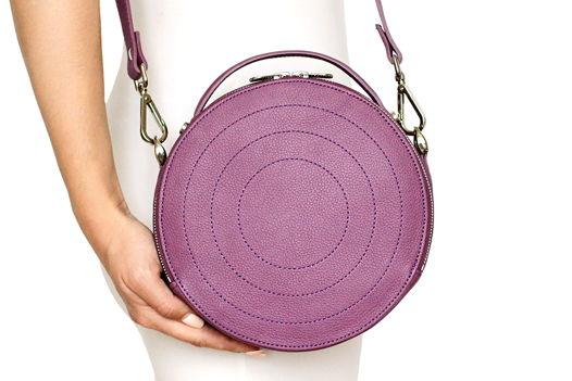 Фиолетовая круглая кожаная сумка Ronda