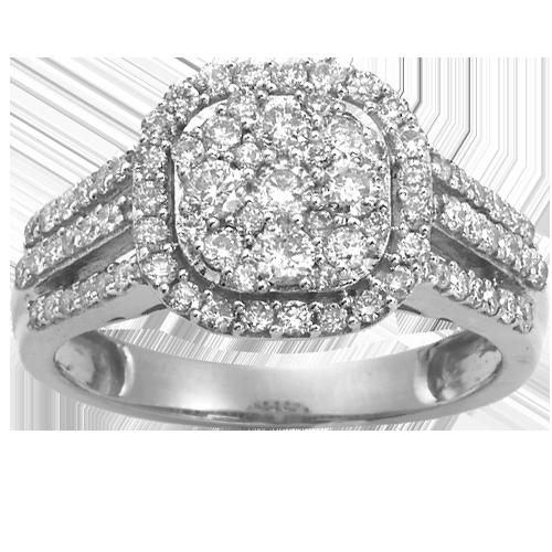 Cluster Diamond Engagement Ring