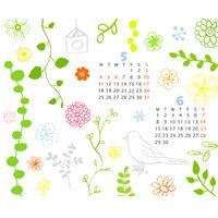2009年5月6月カレンダーつきイラスト壁紙その4です1024768