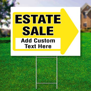 "18"" x 24"" yard sign with yellow arrow saying ' Estate Sale Add Custom Text Here'"