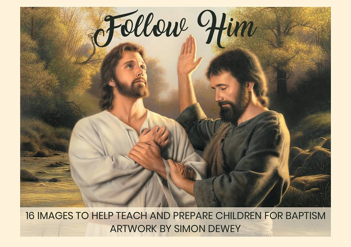 Cover of mini card pack featuring baptism artwork by Simon Dewey.