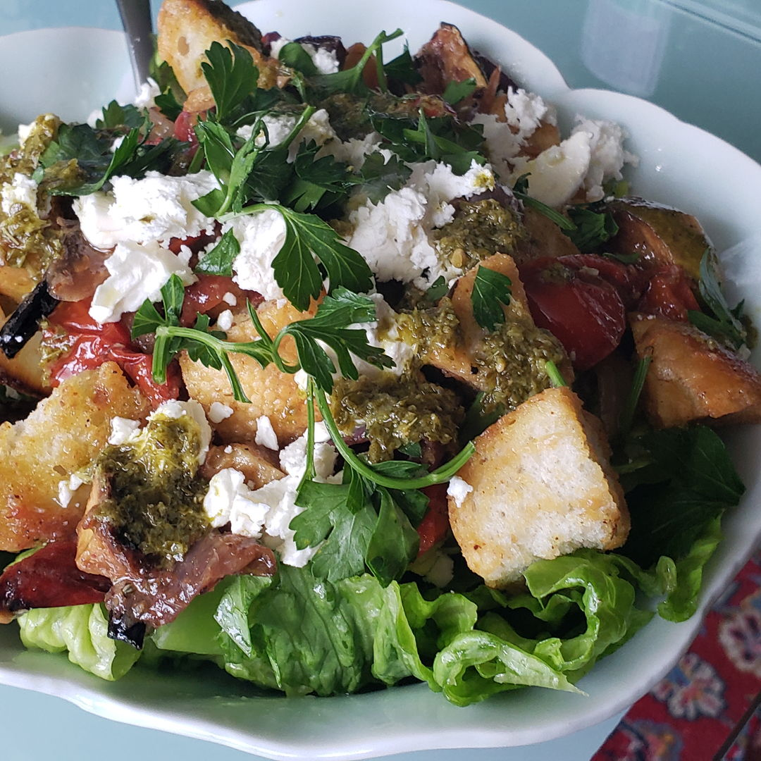 Panzanello salad w roasted vegetables