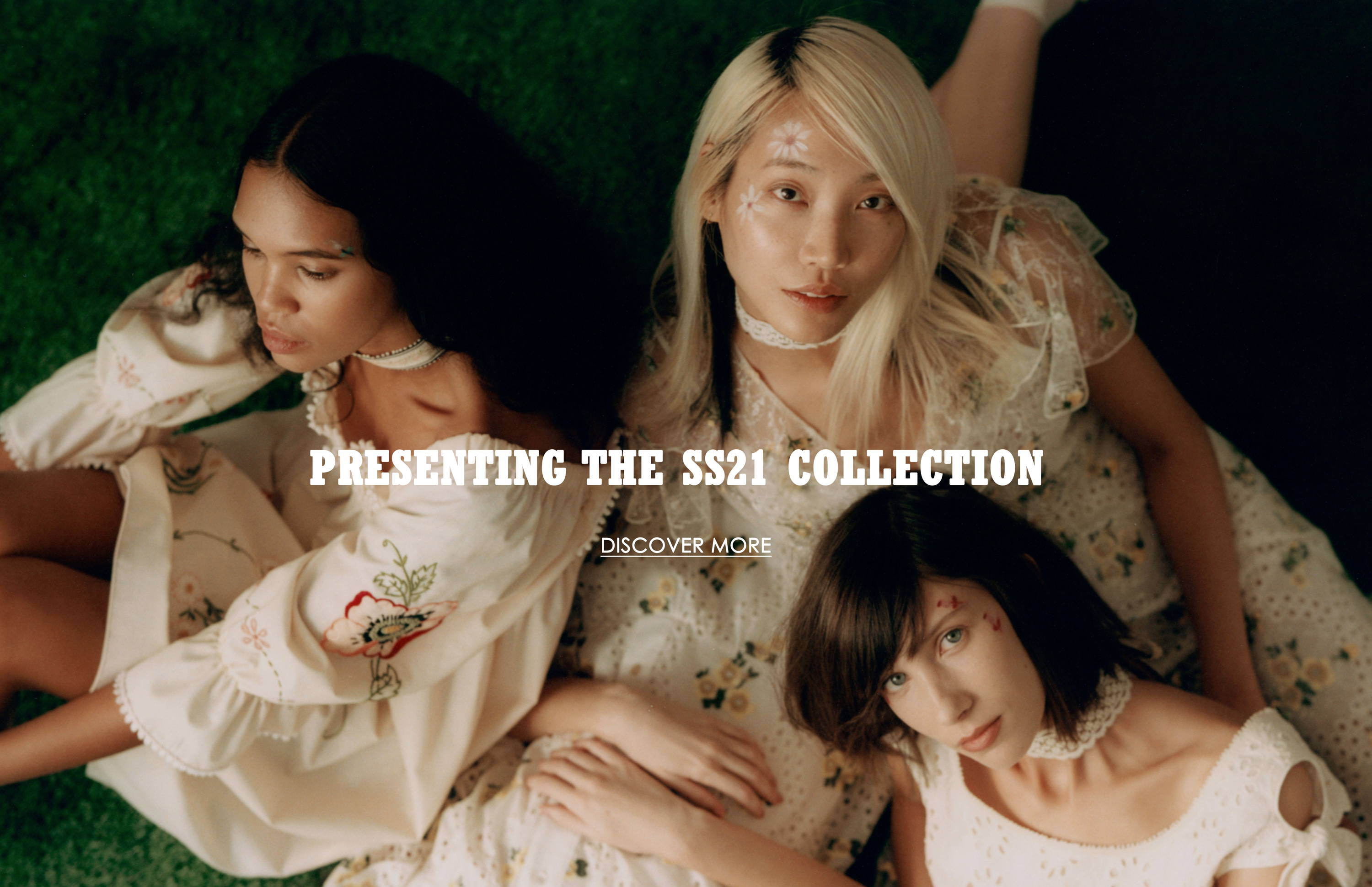 Discover the Spring Summer 2021 Collection. Jordan Daniels, Soo Joo Park, Sara Grace Wallerstadt and Sasha Kynsh  wear white dresses from the newest Anna Sui Collection