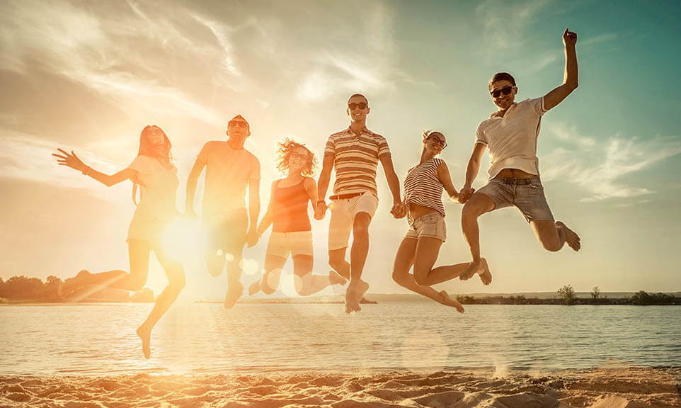 people jumping on a sunny day