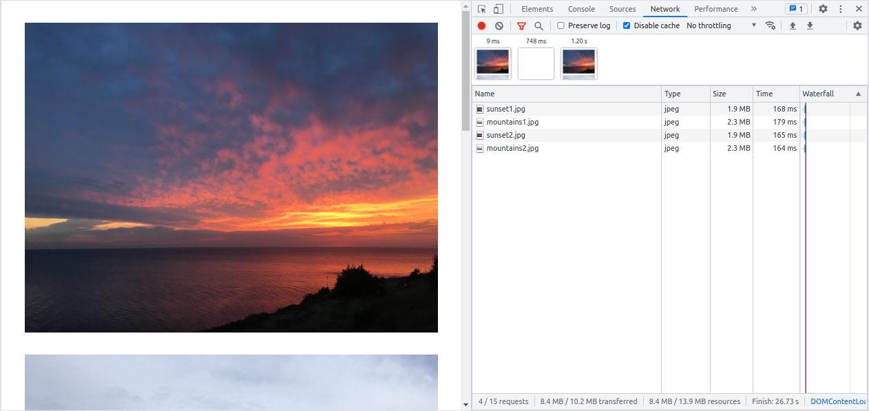 Native IMG tag in Chrome Dev Tools