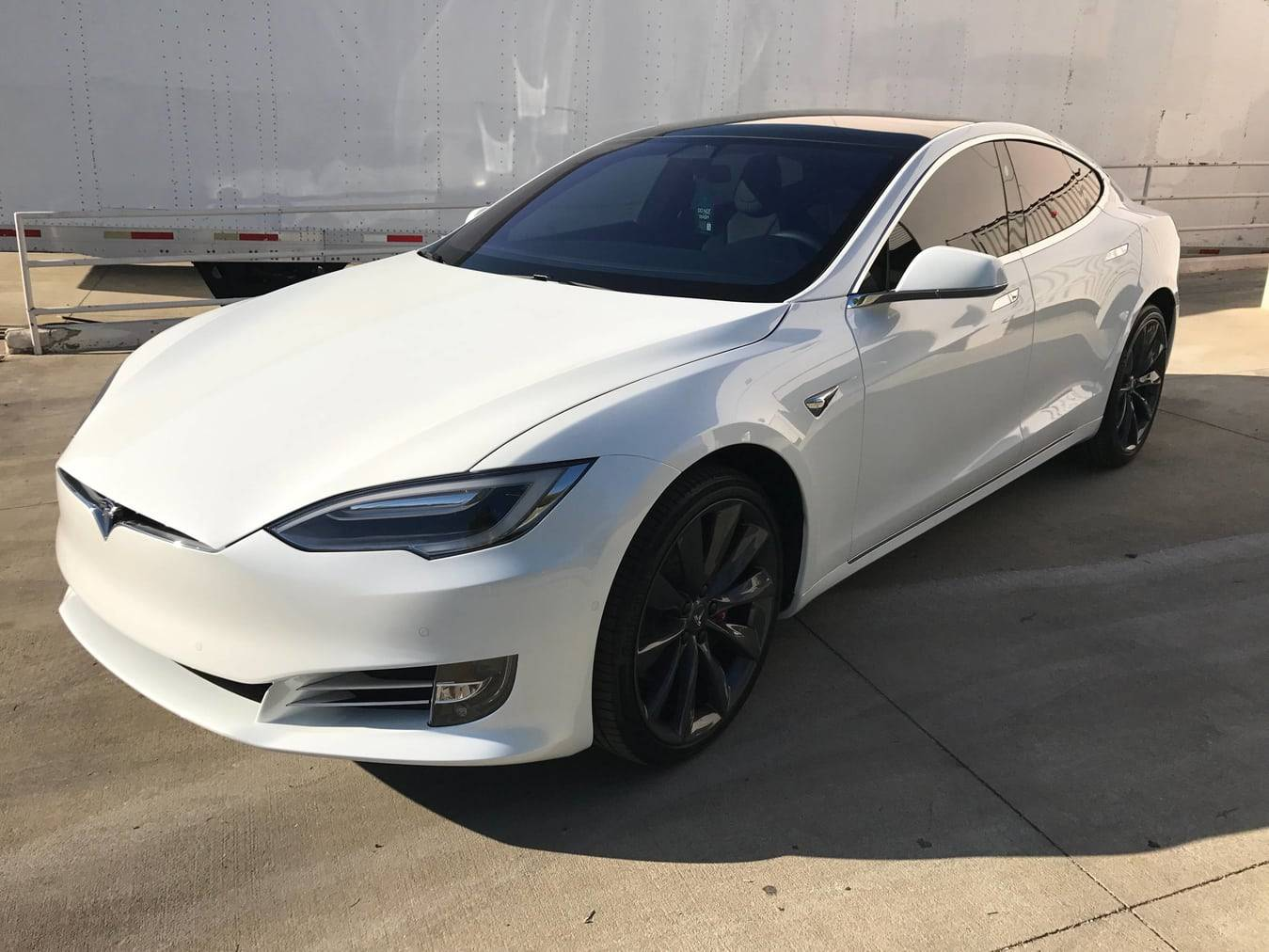 Opti-Coat Pro Plus on a white Tesla Model S - Autoskinz