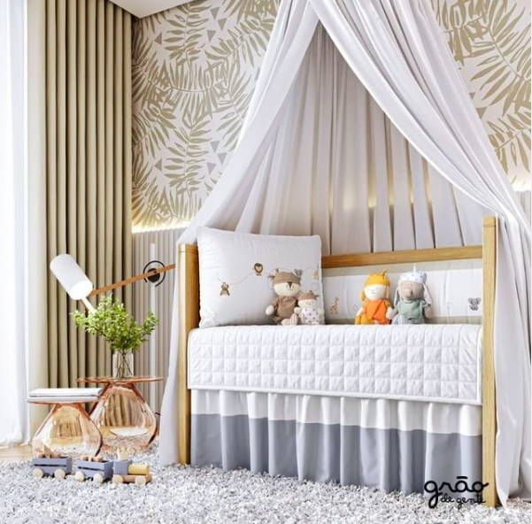 chic grey neutral nursery with crib and decor