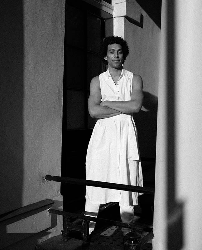 Aindrea wearing Felice dress in white