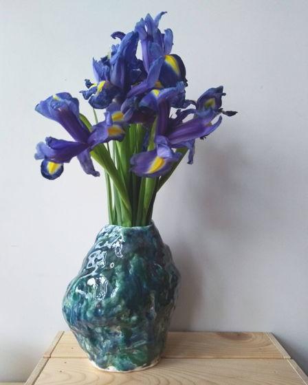 Сине-зеленая керамическая ваза
