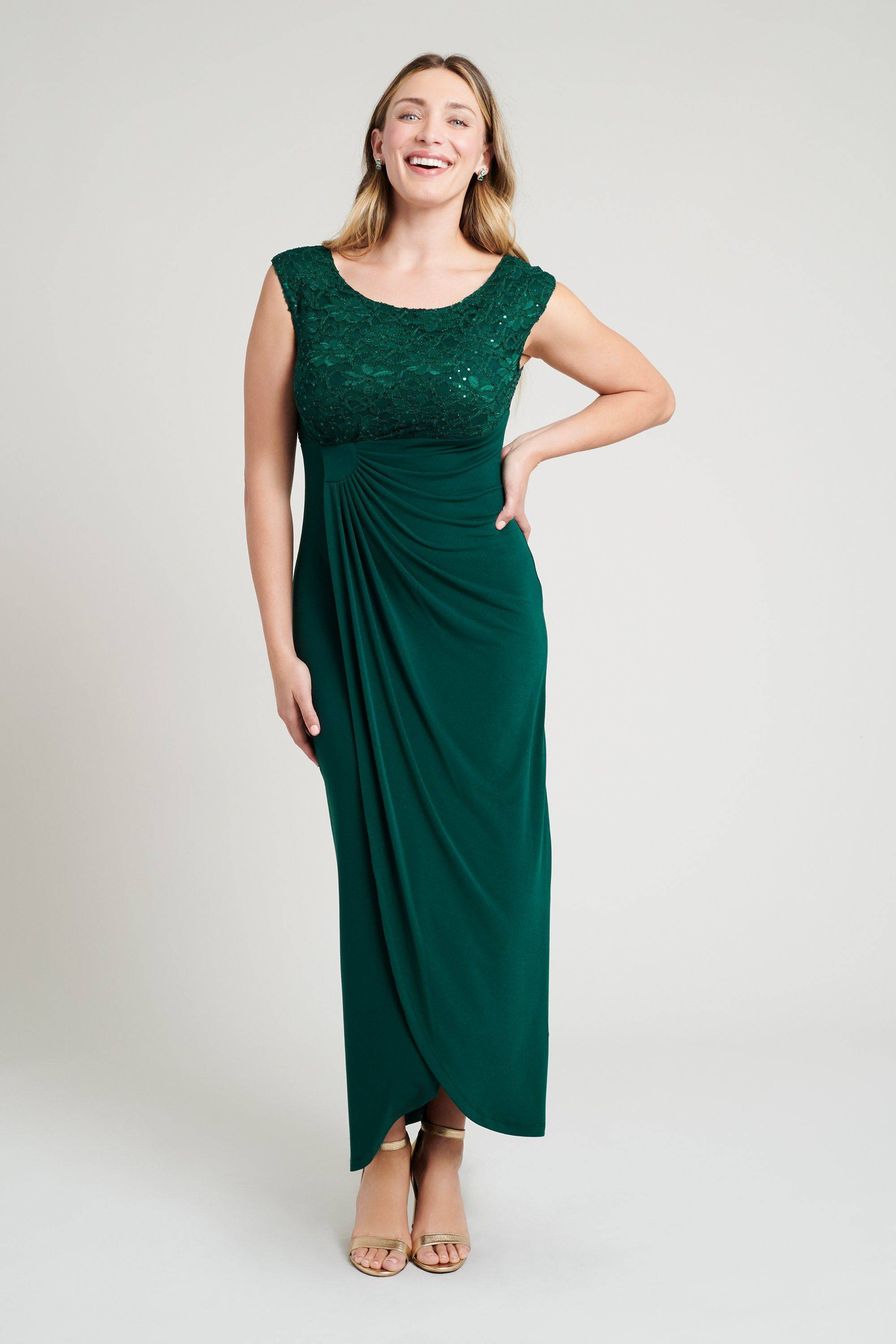 green-sequin-lace-dress-formal-party-holiday-special-occasion-hunter-womens-connected-apparel