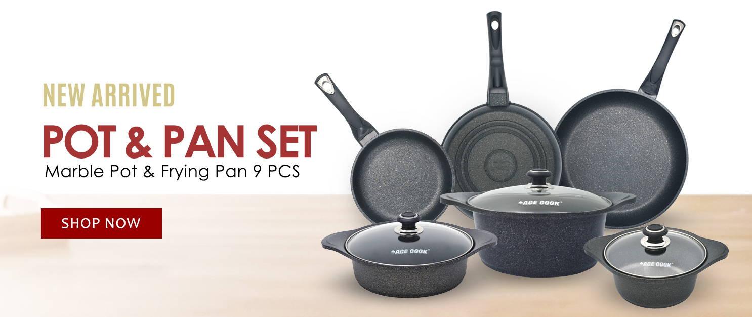 New arrived Marble Pot & Pan 9 Pcs Set