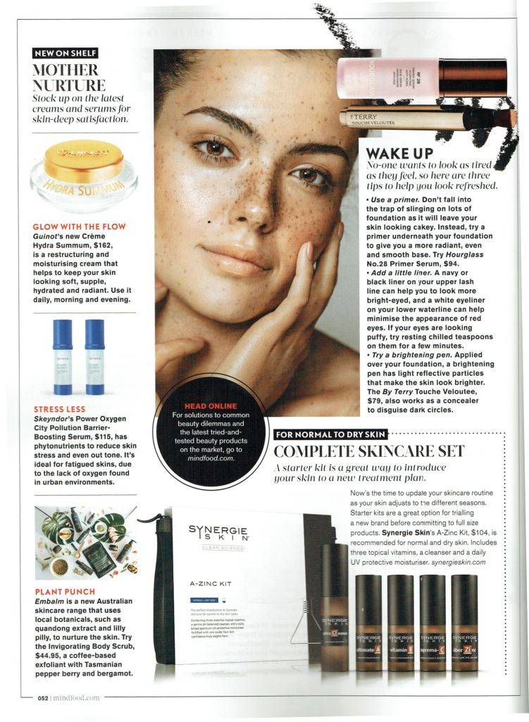 Embalm Skincare in Mindfood magazine