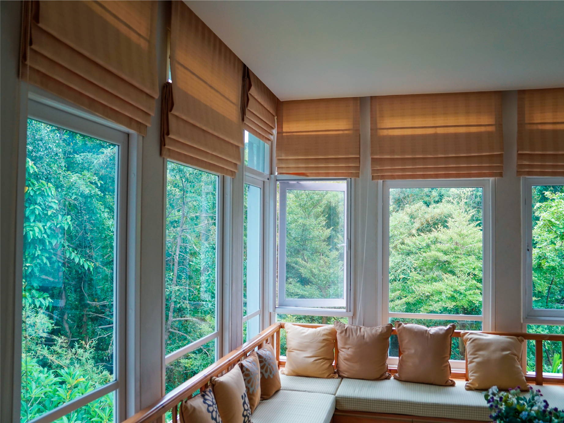 Living Room Window Coverings - Roman Blinds