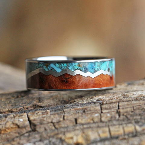 turquoise ring redwood silver mountain