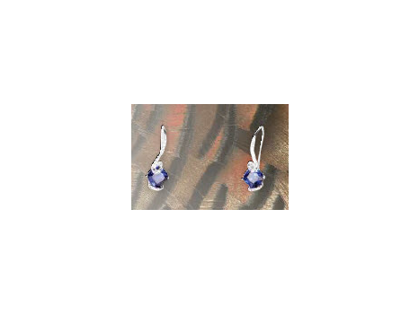 Cushion Cut Simulated Blue Sapphire Earrings