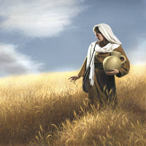 Painting of a woman holding a clay vessel and walking through a wehat field.