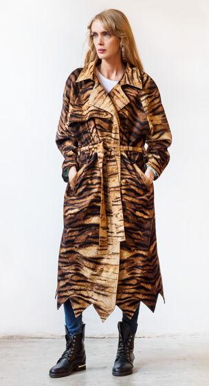 Хлопковое пальто с тигровой фактурой