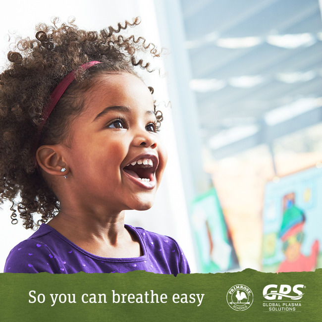 Child smiling with Primrose and GPS logos