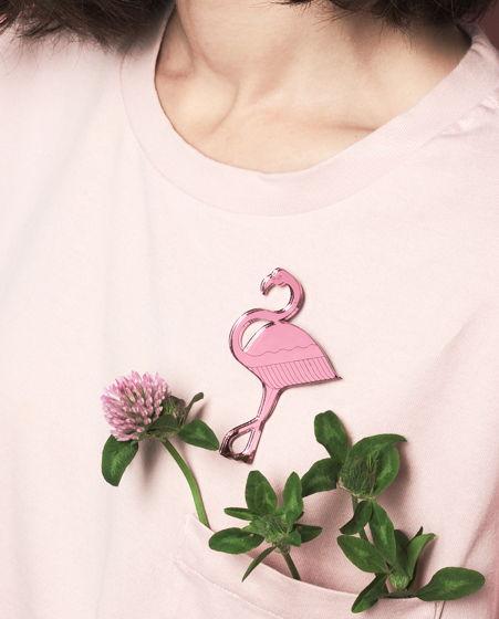 Брошь зеркальная Flamingo