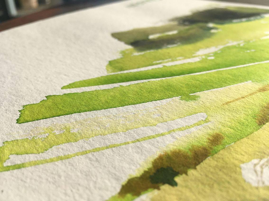 aquarelle verte faite main, pour Beerscuit le biscuit apéro recyclé