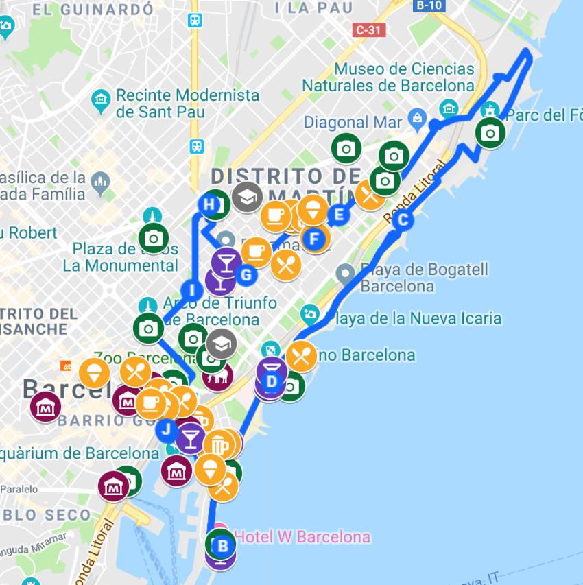 Self-guided GPS tour in barcelona for electric scooters. Choose among different routes.