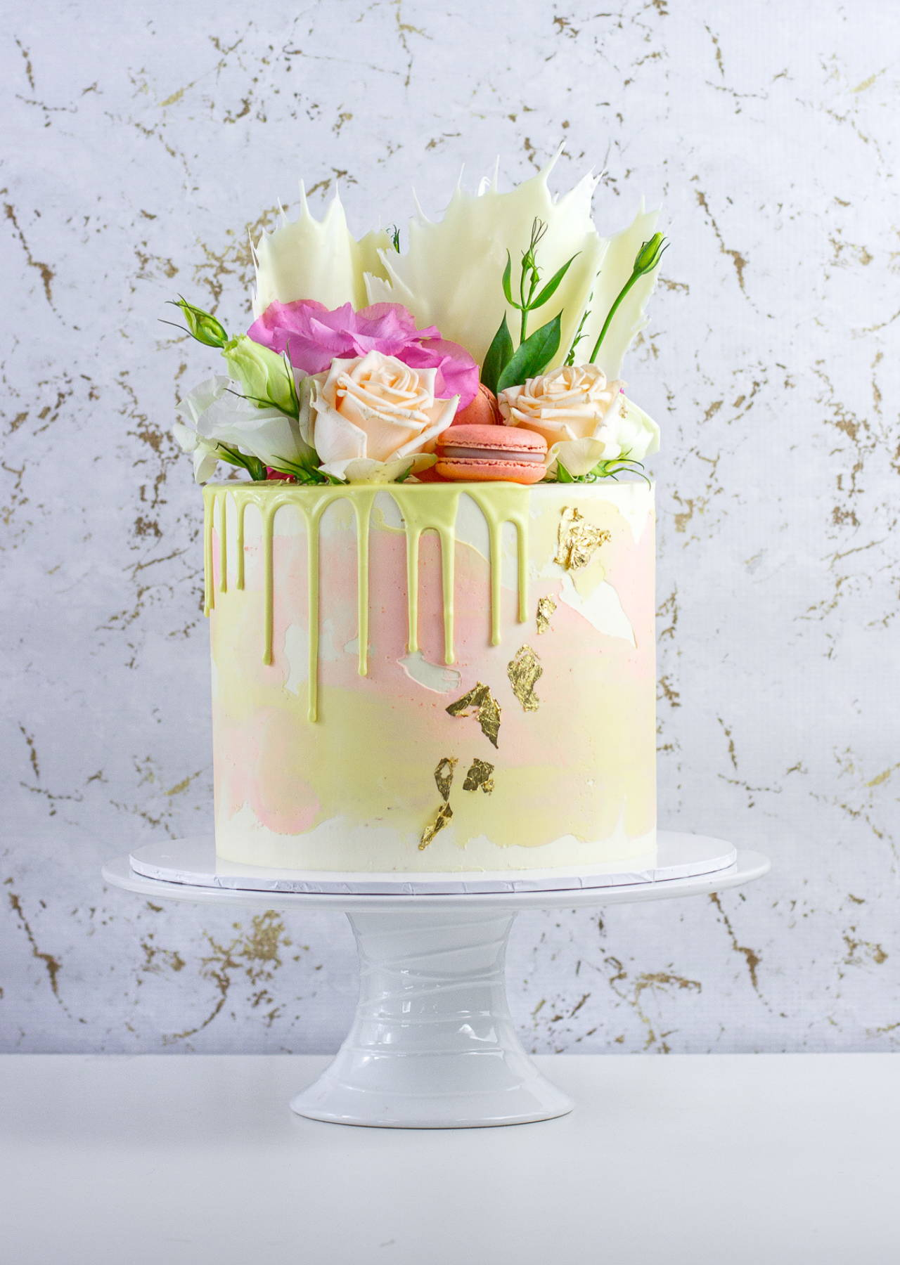 "6"" Pastel Theme Cake with Florals, Macarons and Chocolate Shards"