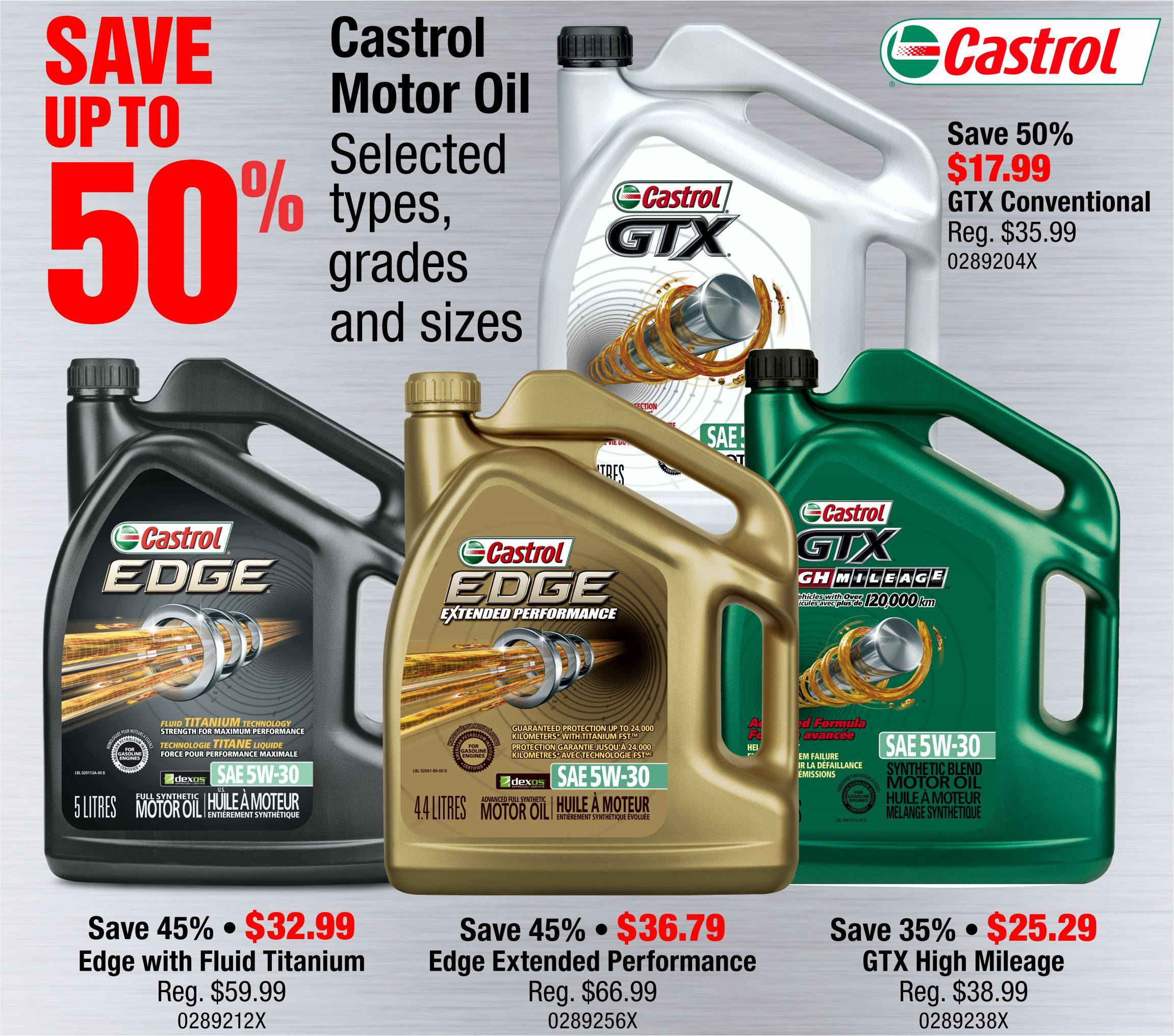 Save up to 50% on Castrol Motor Oil