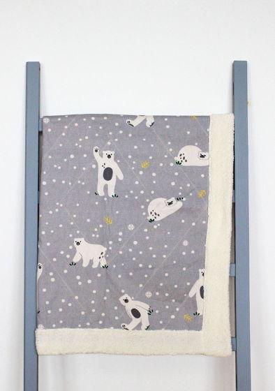 Пушистое одеяло для новорожденных с белыми медведями