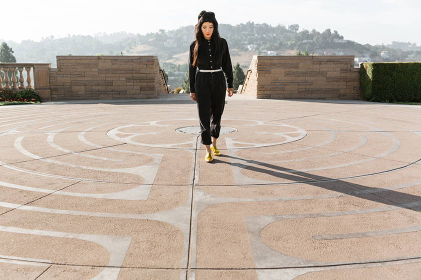 Woman walking on labyrinth