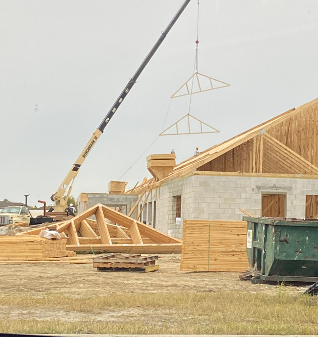 crane flying trusses for roof