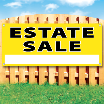 "Wood fence displaying a yellow banner saying "" Estate Sale"