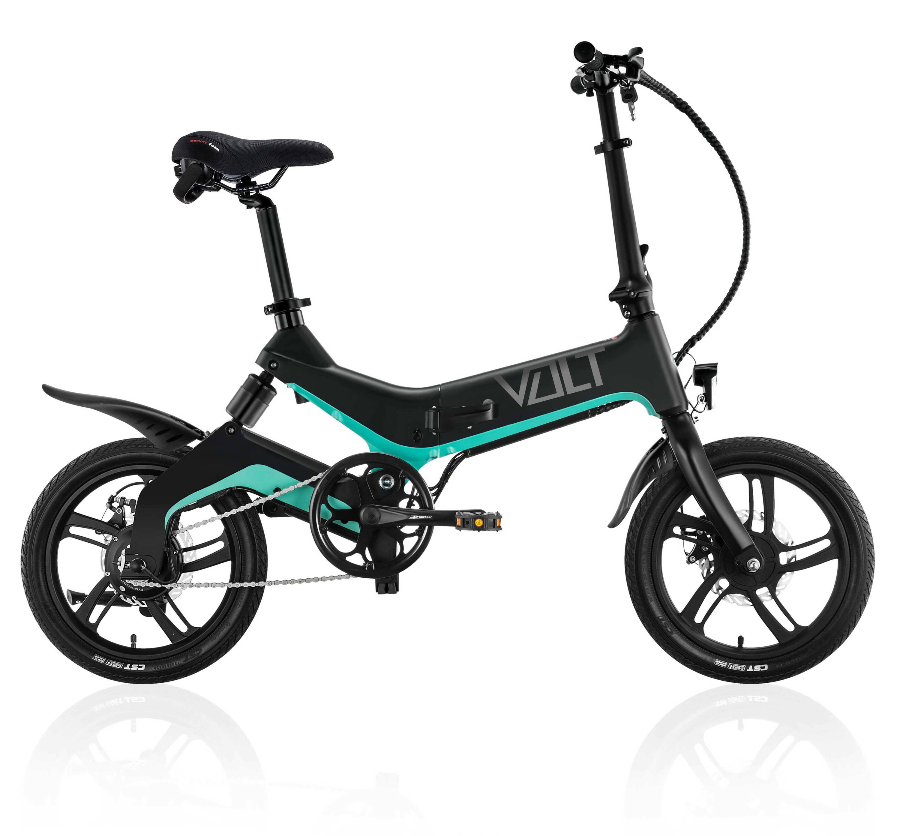 VOLT Mate electric bike in Jet Black colour against white background. 16 inch wheels, pedal assist, dual disc brakes. VOLT city bike by VOLT e-bikes. Classified as one of the best electric bikes in Australia.
