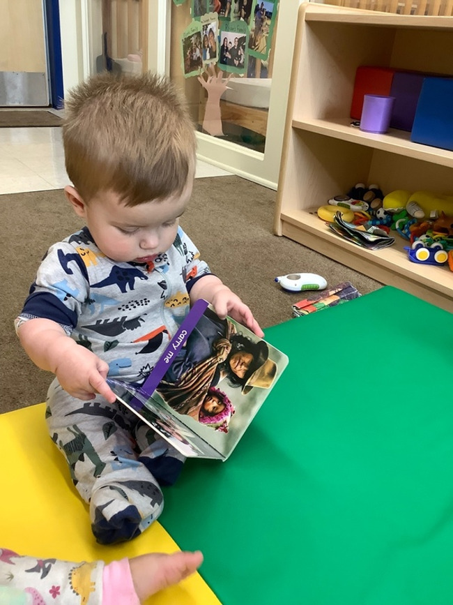 Our Young Infant 2 babies explored books about families