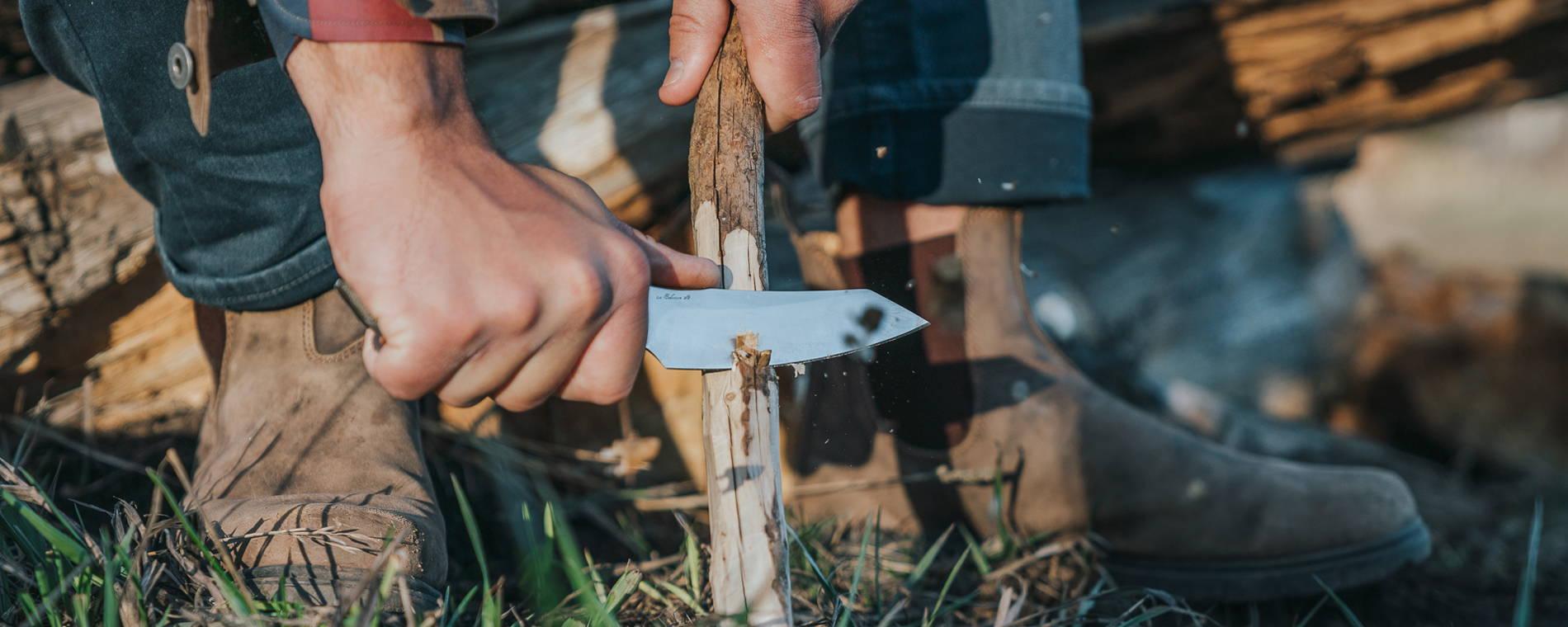 Overland Chef Utility Knife shaving wood