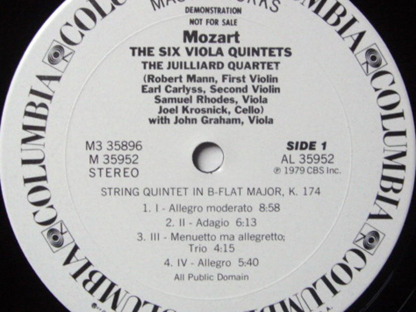 CBS / JUILLIARD QT, - Mozart Six Viola Quintets, MINT, 3LP White Promo Box Set!