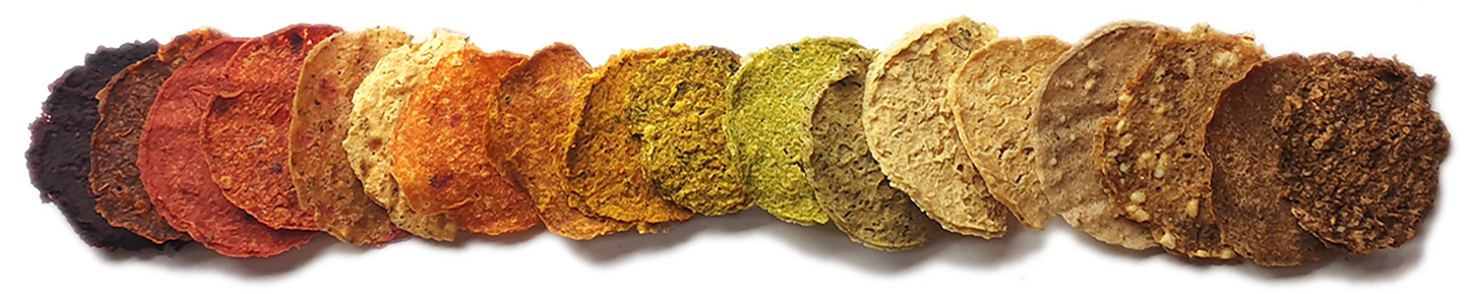 Marvin's Salad and Curry Crisps. Naturally bright colours. Made with all natural ingredients.