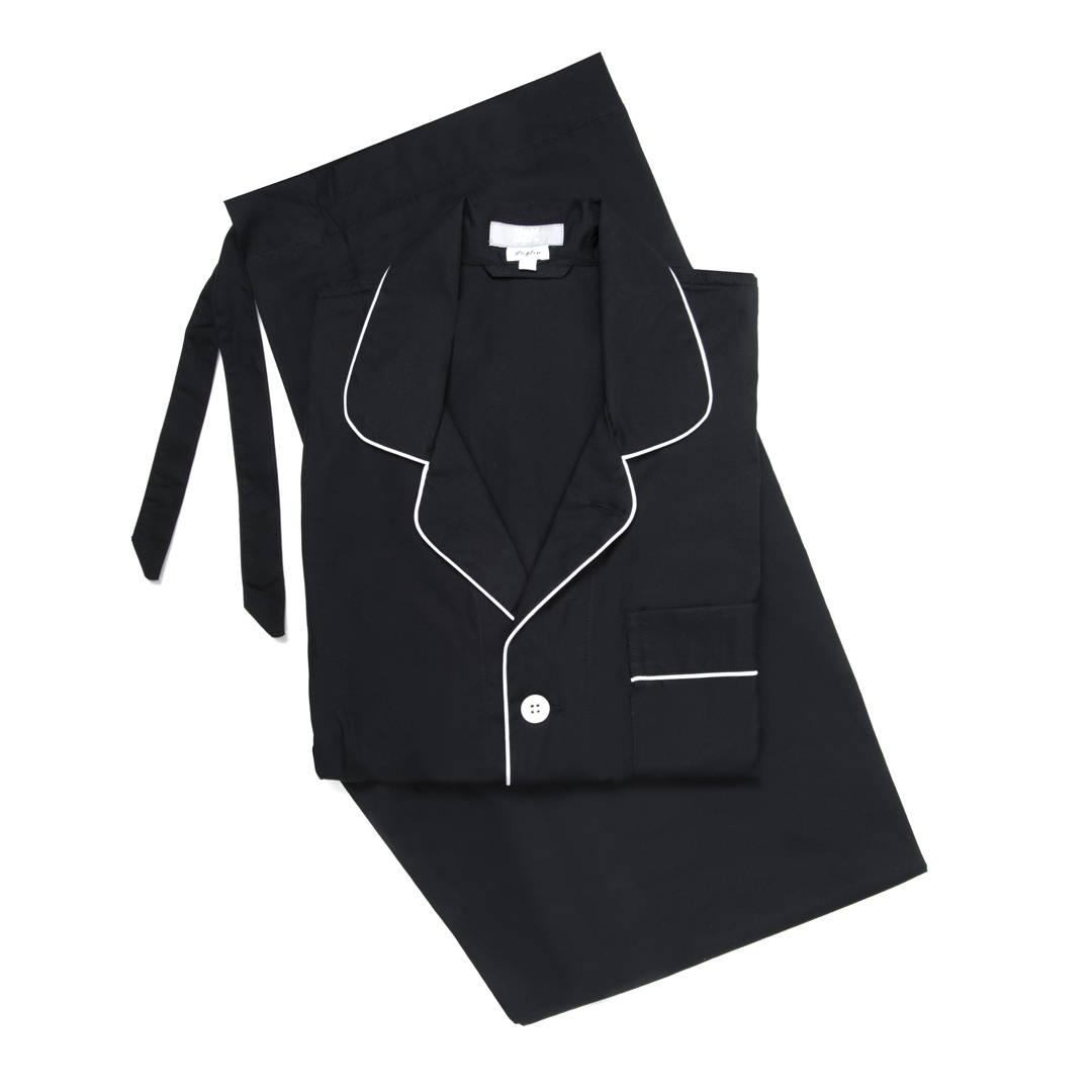 Budd Poplin Men's Pajamas in Black and White
