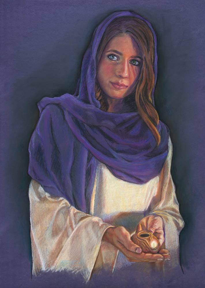 Painting of a woman in a purple robe holding a lamp.