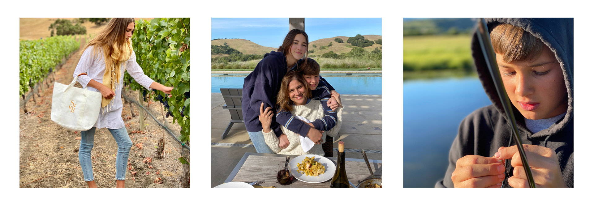Stick & Ball's founder Elizabeth with her kids in vineyard, eating dinner and fishing