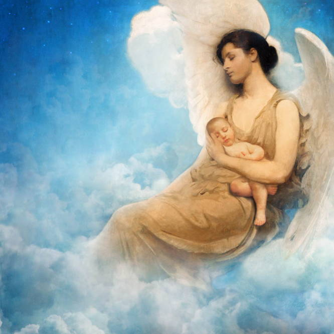 Classic painting of an angel woman sleeping in the clouds with an infant sleeping in her arm.
