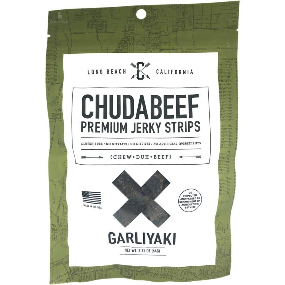 Chudabeef Garliyaki garlic teriyaki craft beef jerky