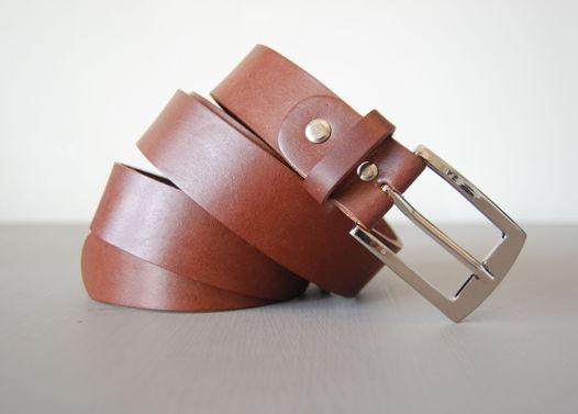Кожаный светло-коричневый ремень Medium