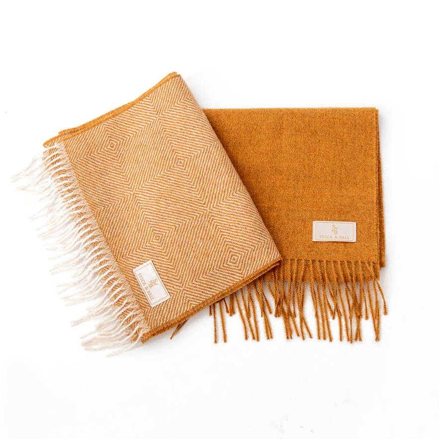 Stick & Ball Alpaca Scarves in solid colors & with diamond motif pattern in mustard color