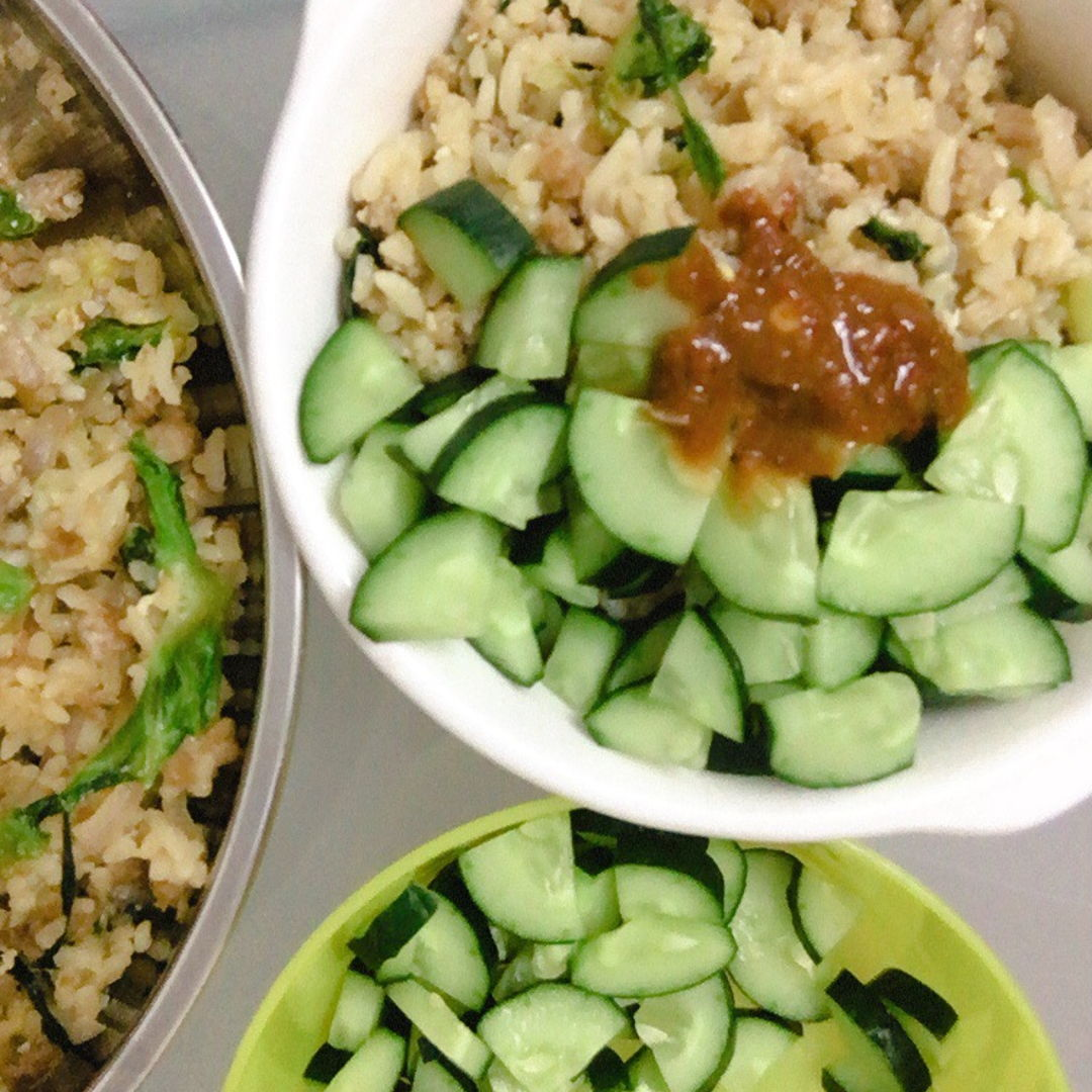 Minced Pork fried rice with cucumber 🥒